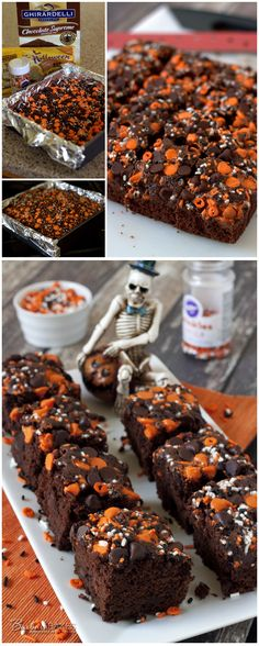 Quick and Easy Halloween Pumpkin Brownies recipe from Barbara Bakes