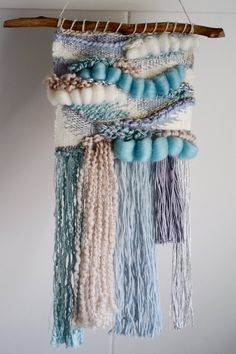 Serene Blue Hand-woven Wall Hanging by WallflowerWeavings on Etsy Weaving Textiles, Tapestry Weaving, Loom Weaving, Hand Weaving, Weaving Wall Hanging, Hanging Wall Art, Sewing Art, Sewing Patterns, Macrame Art