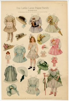 "1908 The Lettie Lane Paper Family: Miss Lettie Lane -Paper Doll -artist Sheila Young -Curtis Publishing Co. Philadelphia, PA | Several American women's magazines included pages of paper-based toys for youngsters to cut out and play with. ""Good Housekeeping"" offered Polly Pratt, beginning in 1919; and ""The Ladies Home Journal"" included Lettie Lane from 1908 to 1915, Betty Bonnet from 1915 to 1918, and other paper dolls later."