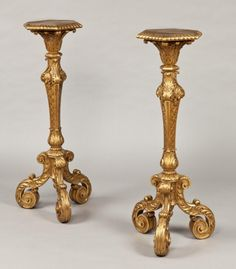 """Pair of gilt torcheres in the manner of James Moore (LouisXIV style )  Ca1880 England. 44.09""""H."""