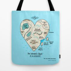 A Map of the Introvert's Heart Tote Bag by gemma correll - $22.00