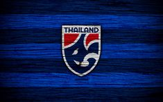 Download wallpapers Thailand national football team, 4k, logo, AFC, football, wooden texture, soccer, Thailand, Asia, Asian national football teams, Thailand Football Federation