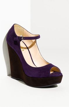 Prada Suede Platform Wedge #purple! -- I WILL NEED TO FIND A PLACE TO WEAR THESE TOO..HMM CHURCH?? LOL, yes I will!