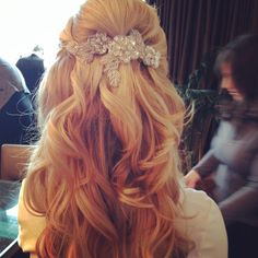 Half up half down wedding hair with custom made hair pieces. Wish my hair looked this good every day! Thanks, Kirsten from Larc Salon in Dallas!