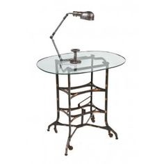 """Largely intact c. 1915-18 vintage industrial """"uhl art steel"""" factory office typewriter stand with custom cut plate glass top. #industrial #antique #chicago #industrialtable"""