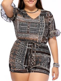$25.81 Chic Plus Size V Neck Flare Sleeve Printed Romper For Women