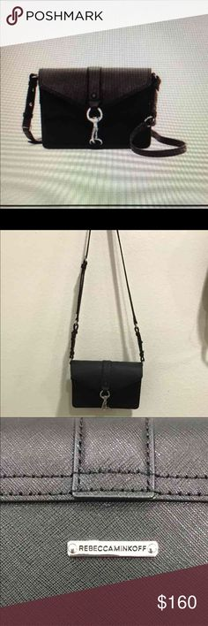 """Rebecca minkoff black leather crossbody Never used Rebecca minkoff Hudson Moto """"Our Hudson moto mini leather crossbody may be small, but it packs quite a big punch. The jumbo sized,shiny,metal lobster clasp anchors the eye amid a backdrop of crosshatched texturing. Fold over flap with clasp closure. Adjustable shoulder strap. Interior feature slip pocket, and 2 compartments. Approx. 8.5' W x 5.5' H x 3'D and approx. 20' strap drop. Materials: saffiano leather exterior, fabric lining""""  On…"""