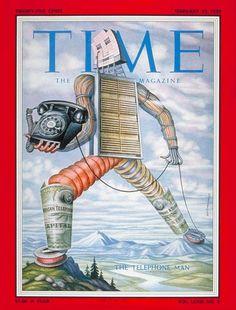 TIME Feb. 23, 1959: The Telephone Man. Cover art by Boris Artzybasheff.