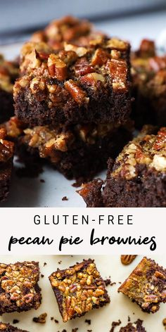 Combine two amazing desserts into one with these fudgy pecan pie brownies! They're made with almond flour so they're gluten-free, grain-free and absolutely delicious. #glutenfree #brownies #pecanpie #holidayrecipes #thanksgivingrecipes #eatingbirdfood #chocolatelovers Healthy Dessert Recipes, Healthy Treats, Fun Desserts, Mexican Food Recipes, Delicious Desserts, Yummy Food, Gluten Free Sweets, Dairy Free Recipes, Gluten Free Pecan Pie