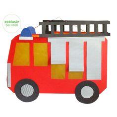 4 x Laterne Feuerwehrauto, Laternen basteln Bastelset 34 x 28 cm (9674) in Möbel & Wohnen, Hobby & Künstlerbedarf, Basteln   eBay