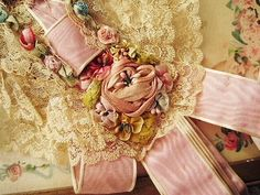 .beautiful lace, silk embroidery, shabby pink