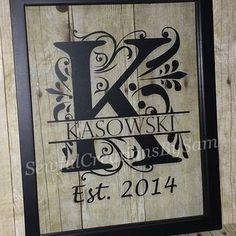 Last Name Sign, Established Sign, Wall Art, Est Family Initial, Wedding Gift, Wood Floating Frame 11x14, 16x20, Split letter
