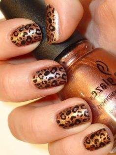 Leopard print nails. Actually pretty simple to do.