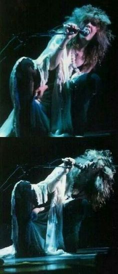 an awesome double photo of Stevie onstage   ~ ☆♥❤♥☆ ~   crouched down on the…