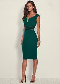 Venus Women's Waist Detail Dress - Blue/green, Size S