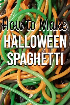 Looking for Halloween sensory ideas? Halloween Spaghetti recipe is perfect whether you want to use it for sensory play or serve as a meal. Fun Halloween Activities, Halloween Themed Food, Halloween Appetizers, Halloween Dinner, Halloween Crafts For Kids, Halloween Projects, Spooky Halloween, Halloween Treats, Preschool Halloween