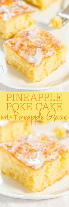Pineapple Poke Cake with Pineapple Glaze - Fast, easy, one-bowl, no mixer, from-scratch cake that's easier than a mix! The glaze soaks into every inch and you'll be in juicy pineapple HEAVEN!! Perfect holiday party cake!