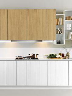 Zampieri - #Y kitchen in white lacquered vintage oak and bleached vintage oak.