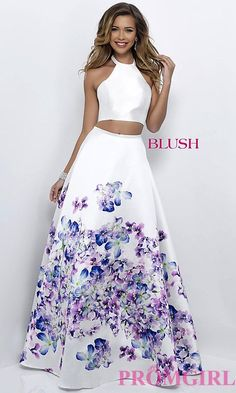 Image of two-piece halter floral-print prom dress by Blush. Style: BL-11218 Front Image