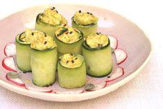 Receta: Rollitos de pepino con mayonesa de aguacate