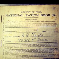 WW1 Ration book. William Knott 1918