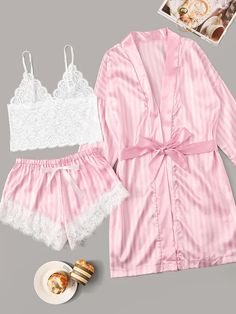 To find out about the Floral Lace Striped Lingerie Set With Robe at SHEIN, part of our latest Sexy Lingerie ready to shop online today! Cute Pajama Sets, Cute Pajamas, Plaid Pajamas, Pyjamas, Cute Sleepwear, Lingerie Sleepwear, Nightwear, Lace Lingerie Set, Pretty Lingerie