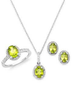 Peridot and White Topaz Jewelry Set in Sterling Silver (5-1/2 ct. t.w.)