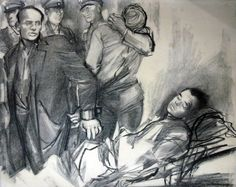 Artist: Zdenka Landová. Karel Čurda identifies dead body of Jan Kubiš in SS-hospital We Will Never Forget, Paratrooper, Wwii, Army, Hero, People, Gi Joe, World War Ii, Military