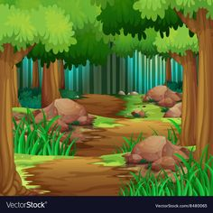 Scene with hiking track in the forest vector image on VectorStock Forest Illustration, Landscape Illustration, Book Illustration, Art Drawings For Kids, Colorful Drawings, Easy Drawings, Forest Resources, Cute Frames, Cartoon Background