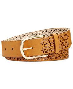 76c8e6ff30fd4 Inc International Concepts Perforated Belt (Cognac L)  fashion  clothing   shoes