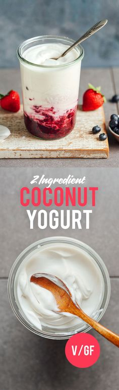 AMAZING Coconut Yogurt with Step-by-Step AMAZING Coconut Yogurt with Step-by-Step photos This Creamy Dreamy Vegan Yogurt is the BEST! Made in five minutes with three ingredients and naturally sweetened. Healthy Desayunos, Healthy Snacks, Whole Foods 365, Whole Food Recipes, Vegetarian Recipes, Healthy Recipes, Coconut Recipes, Yogurt Recipes, Baker Recipes