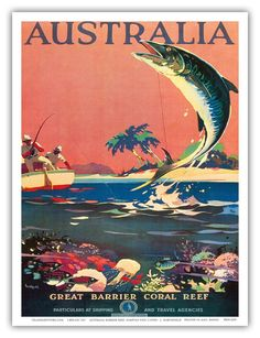 Australia - Great Barrier Coral Reef, Queensland - Vintage World Travel Poster c.1930s - Master Art Print - 9in x 12in.
