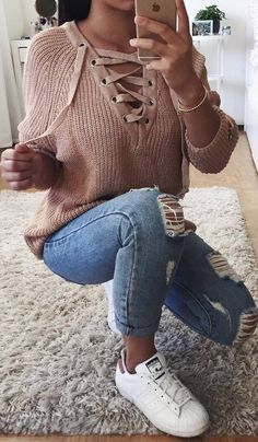 lace+up+sweater+++ripped+jeans+++white+sneakers