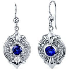 Ornate 1.50 Carats Blue Sapphire Round Cut Dangle Earrings in Sterling Silver Rhodium Nickel Finish Peora