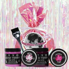 Gift gorgeous hair to friends + fam this year with one of our Gift Packs! Each pack includes 2 dyes, tint brush and sticker all wrapped up in an iridescent gift bag! Available in Pink, Purple, Blue + Green! Hot Pink Hair, Pink Hair Dye, Dyed Hair, Pink Purple, Blue Green, Pink Gifts, Dyes, Gorgeous Hair, Iridescent