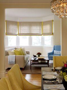 Hermoso living con bow window
