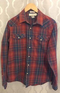 H&M Label of Graded Goods Mens Plaid Western Snaps Button Down Shirt Size Medium #HM #ButtonFront
