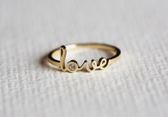 Gold Love Thin Ring Gold Name Ring Gold Birthstone by MinimalVS