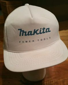 Vintage MAKITA POWER TOOLS white SNAPBACK CAP Trucker Hat, fishing hunting  #Trucker