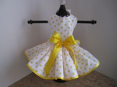 Dog Dress XS White with Yellow  Polkadots By by NinasCoutureCloset