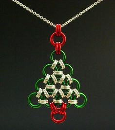 Necklace Kit - Chainmaille Christmas Tree in YOUR Pick of Colors - Beginners Chainmaille DIY