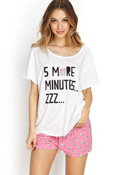 Five More Minutes PJ Set - Intimates & Lounge - 2000087590 - Forever 21 UK. I think I need to change back to USA , I'm showing UK stores? Cute Sleepwear, Lingerie Sleepwear, Nightwear, Cute Pjs, Cute Pajamas, Style Baby, My Style, Pajama Outfits, Cute Outfits