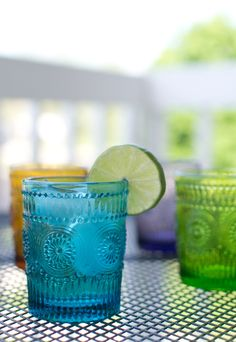 Colorful cocktail glasses. Cute for an outdoor party.