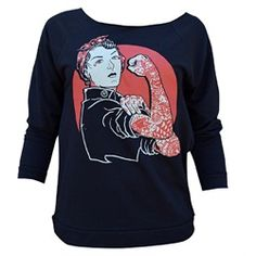 Women's We Can Do It by Adi Rosie the Riveter Unfinished Sweatshirt Item:12953TAC-W-WECANDOIT-OVERSIZEDSWEATB-S Tattooed Rosie the Riveter o... Witchy Outfit, Tattoo Clothing, Tattoo T Shirts, Rosie The Riveter, Punk Outfits, Hoodies, Sweatshirts, Graphic Sweatshirt, Clothes For Women