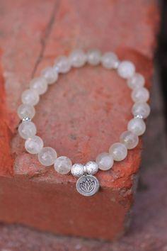 Moonstone Mala Bracelet with lotus flower charm- Mediation Inspired Yoga Beads