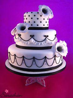 lovely black and white cake