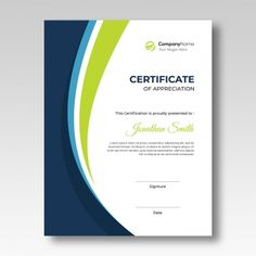 Vertical blue   green waves certificate template Template Green Certificate, Certificate Layout, Certificate Border, Certificate Background, Certificate Of Achievement Template, Certificate Design Template, Brochure Cover, Brochure Design, Brochure Template