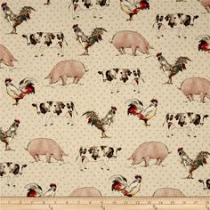 Kaufman Better On The Farm Animals Tan from @fabricdotcom  Designed for Robert Kaufman, this fabric is perfect for quilting, apparel and home décor accents. Colors include black, brown, turquoise, red, teal, orange, pink, cream, yellow, beige and tan.