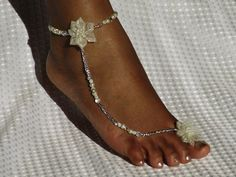 1 PAIR Barefoot Sandals  Bridal Jewelry Beach Wedding Sandals Destination Wedding Rhinestone Barefoot Sandles