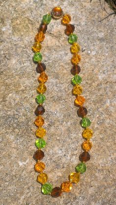 60's Earth Tone Beaded Necklace with Box Clasp by TheArtisanal, $16.99